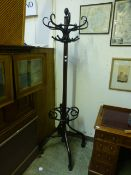 An early 20th century bentwood hat stand