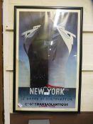 A reproduction 'New York to Southampton'