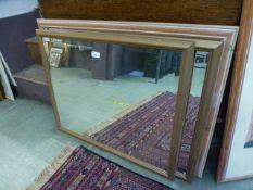 Three rectangular bevel glass mirrors