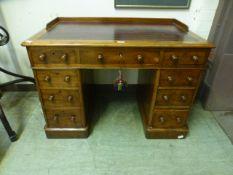 A 19th century mahogany twin pedestal de