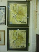 Two framed and glazed maps of the city o