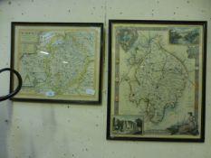 Two framed and glazed maps of Warwickshi