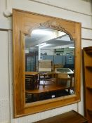 A pine framed mirror with shell design t