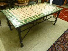 A modern coffee table, the tiled top ove