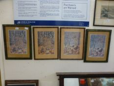 A set of four framed and glazed prints o