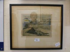 A framed and glazed signed etching title
