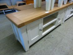 An oak topped grey based media unit (21.