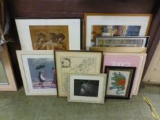 A large selection of framed and glazed prints to include Vettriano, Burn-Jones, Constable etc.