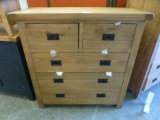An oak chest of two short over three long drawers (18.14/12) CONDITION REPORT: H.