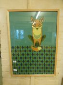 A framed and glazed tea towel depicting a fox