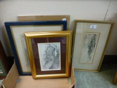 Four framed and glazed artworks to include etchings,