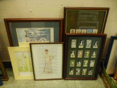 A collection of framed and glazed and unframed prints and cigarette cards on a cricket theme