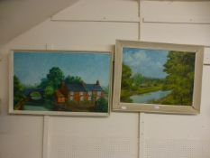 Two oil on boards of canal scenes