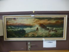 A framed unsigned oil on canvas of seascape