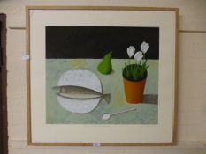 A framed artists proof titled 'Still life with fish,