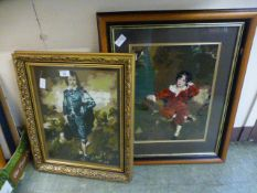 Two framed and glazed needleworks of boys