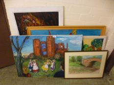 A collection of artworks to include Kenilworth castle, bridge etc.