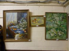 Two framed oil on boards of still life, one signed J Holloway,