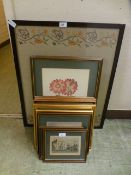A selection of framed and glazed prints to include buildings and flowers along with a framed and