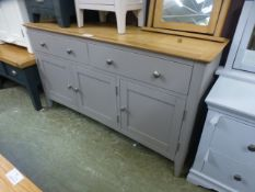 A grey painted sideboard with two drawers and three cupboards under (77.