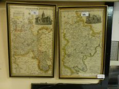 Two framed and glazed maps of Oxfordshire and Bedfordshire