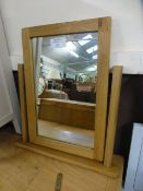 An oak dressing table top mirror (73.