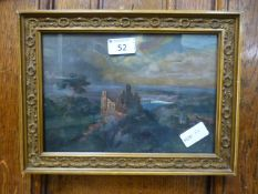 A framed and glazed oil on canvas of coastal castle scene