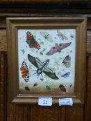 A framed hand painted ceramic tile depicting moths,