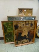 Four framed prints to include Klimt, Dutch market scene,