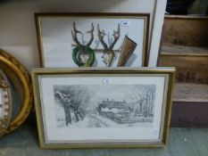A framed and glazed embroidery on a hunting theme along with a framed and glazed limited edition
