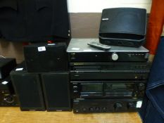 A Sony amplifier, Aiwa tape player, Marantz CD player and an Acoustic Solutions stereo amplifier,