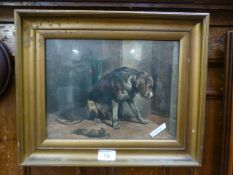 A gilt framed and glazed print of a sorry looking dog