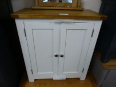 Suffolk White Painted Oak 2 Door Mini Sideboard (32.