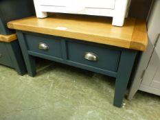Hampshire Blue Painted Oak Coffee Table With Drawers (42.