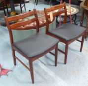 DINING CHAIRS, a set of four, mid century teak with later upholstered seats, 79cm H.