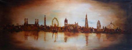 NIGEL KINGSTON 'Riverview of London', oil on canvas, 170cm x 66cm.