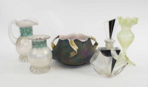 AN EARLY 20TH CENTURY AUSTRIAN IRIDESCENT GLAZED BOWL, two iridescent glass items,
