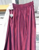 CURTAINS, two pairs, burgundy silk lined, 65cm x 190cm drop.