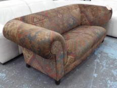 CHESTERFIELD SOFA, two seater, Kelim fabric on turned supports, 165cm L.