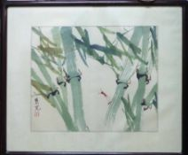 CHINESE WATERCOLOUR OF BAMBOO WITH HARDWOOD FRAME, 69cm x 86cm,