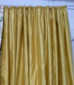 CURTAINS, four pairs in gold silk, lined and interlined (with faults,