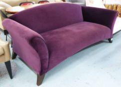 SOFA ATTRIBUTED TO RICHARD BAKER FURNITURE, purple velvet finish, 200cm W.