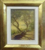 ALBERT STAREPEC 'Sat by the Trees', oil on board, signed lower right, 17cm x 12cm, framed.