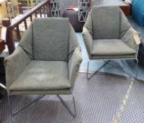 LOUNGE CHAIRS, a pair, 1960's Italian style, 80cm H.