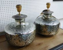 TABLE LAMPS, a pair, from Marston Langinger, eglomise cut glass, 34cm H.