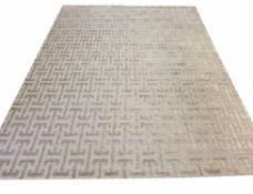 CONTEMPORARY ART DECO DESIGN SILK CARPET, 300cm x 240cm, geometric silver field.