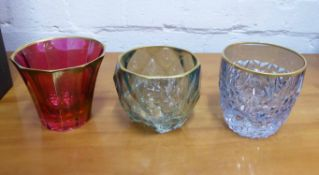 TUMBLERS BOXED BY GRIFFE MILANO, set of six, coloured glass with gilded edging, 8cm H.