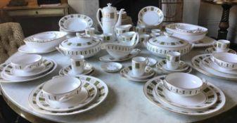DINNER SERVICE, English fine bone china, Spode 'Persia', twelve place, seven piece settings.