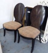 HALL CHAIRS, a pair, by Hickory with faux leopard skin fabric on square supports, 57cm W.