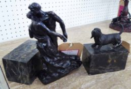 ORNAMENTS, two, a courting couple, 30cm H and a Basset Hound, 15cm H, on marble bases.